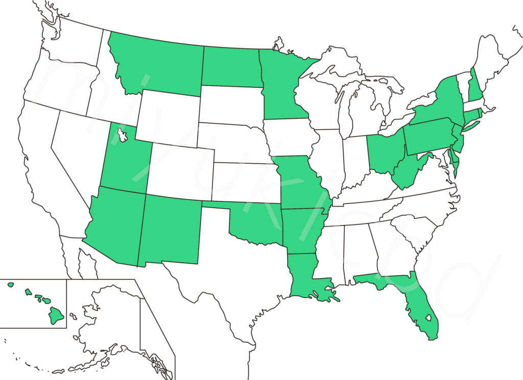 2020年1月、アメリカで医療用のマリファナに対してのみ肯定的な州の地図