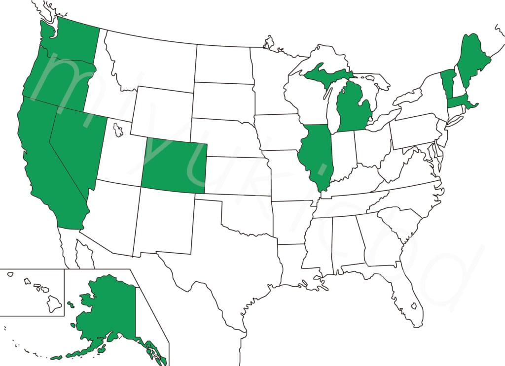 2020年1月、アメリカでマリファナに対して肯定的な州の地図