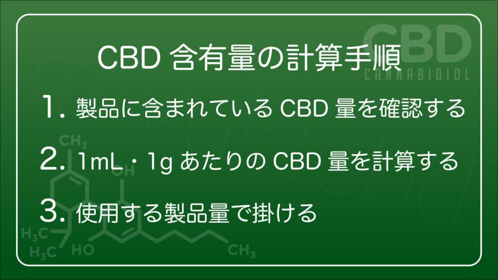 自分の摂取するCBD製品のCBD含有量の具体的な計算手順